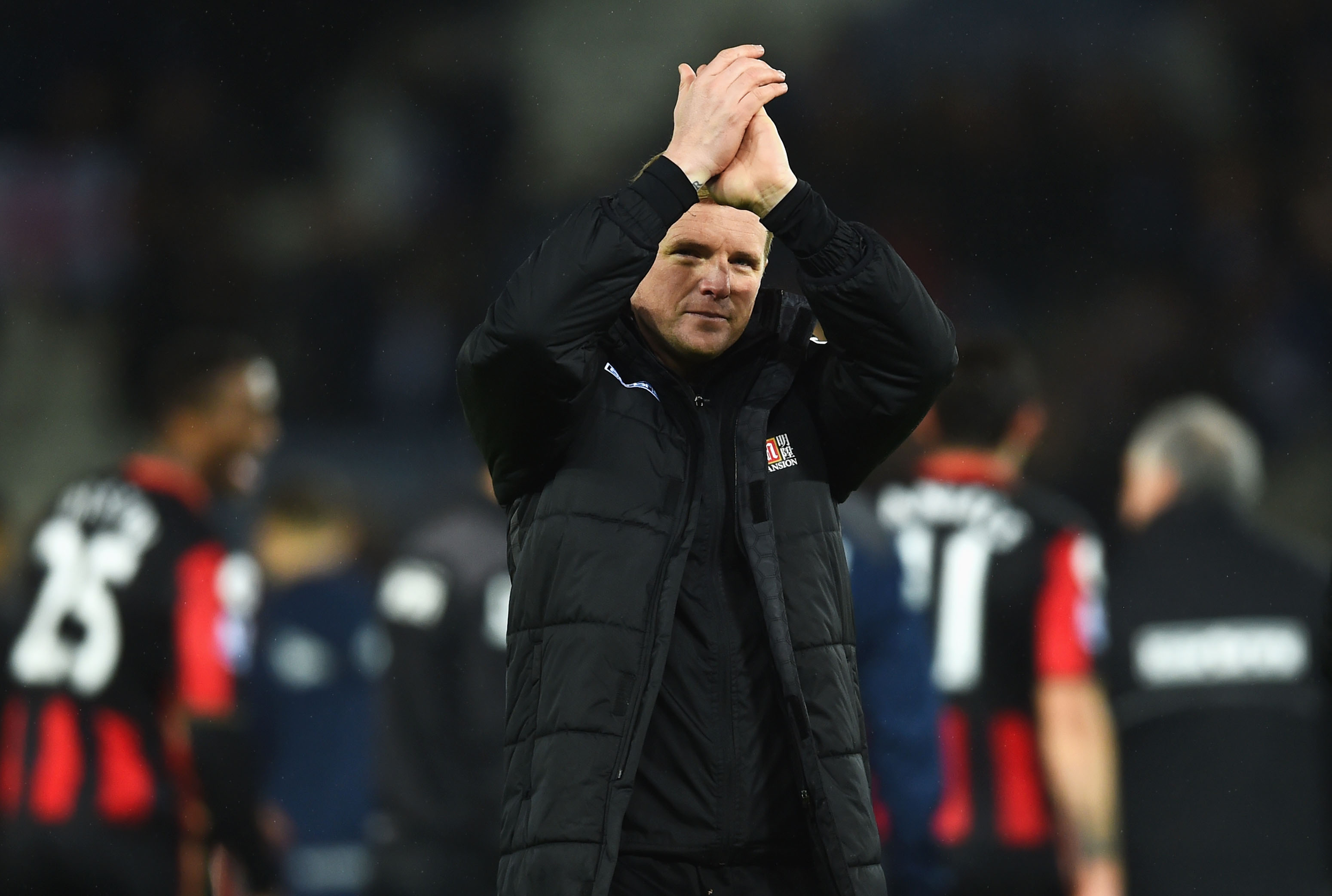 LEICESTER, ENGLAND - JANUARY 02: Eddie Howe Manager of Bournemouth applauds the supporters after the 0-0 draw in the Barclays Premier League match between Leicester City and Bournemouth at The King Power Stadium on January 2, 2016 in Leicester, England. (Photo by Laurence Griffiths/Getty Images)