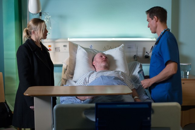 WARNING: Embargoed for publication until 00:00:01 on 26/01/2016 - Programme Name: Eastenders - TX: 01/02/2016 - Episode: 5221 (No. n/a) - Picture Shows: Phil and Ronnie receive some devastating news from the doctor. Ronnie Mitchell (SAMANTHA WOMACK), Phil Mitchell (STEVE MCFADDEN) - (C) BBC - Photographer: Jack Barnes