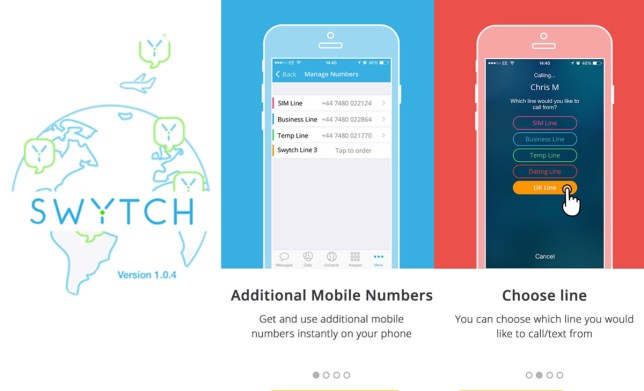 Swytch: Phone app allows users to host multiple numbers on handset