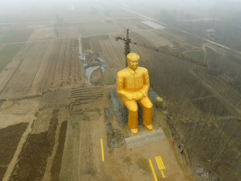 China just built a massive golden statue for Chairman Mao (who probably killed 45million people)