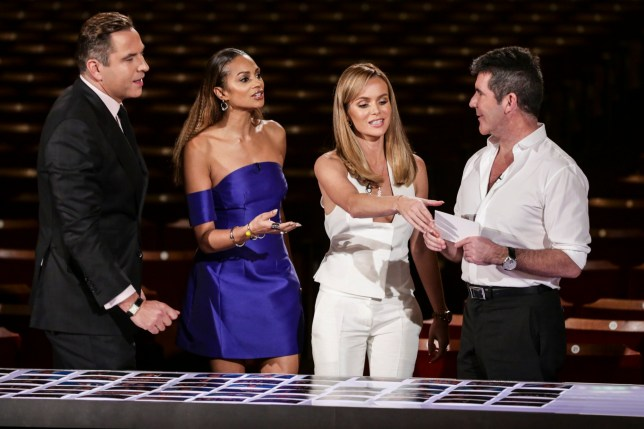 Television programme, 'Britain's Got talent', TX ITV1 The Britain's Got Talent contestants and judges appear in the show airing Saturday May 23rd. Pictured is Simon Cowell, Alesha Dixon, David Walliams and Amanda Holden deliberating.