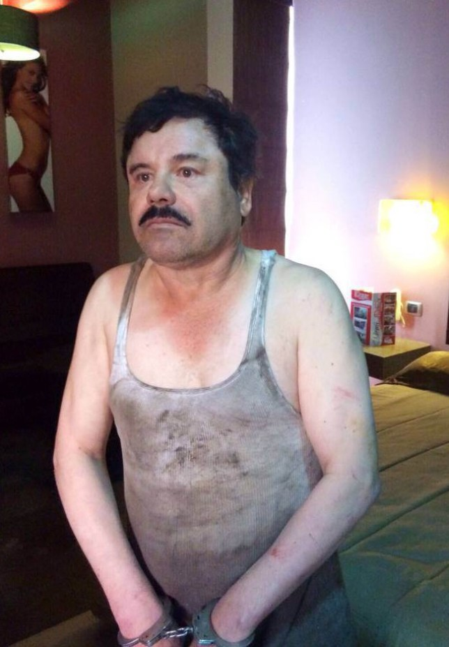 Mandatory Credit: Photo by Xinhua/REX/Shutterstock (5527995a) Image provided by an anonymous source shows Joaquin Guzman Loera, alias 'El Chapo', handcuffed after his detention in a place of Mexico not yet determined by authorities of the country Joaquin 'El Chapo' Guzman recaptured, Los Mochis, Mexico - 08 Jan 2016 Fugitive drug kingpin Joaquin 'El Chapo' Guzman has been recaptured months after his prison escape, President Enrique Pena Nieto said