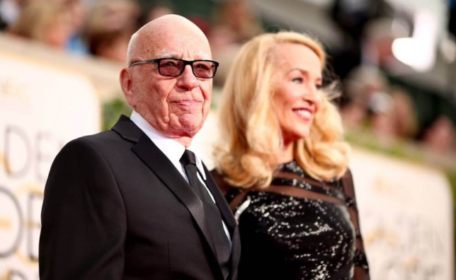 BEVERLY HILLS, CA - JANUARY 10: 73rd ANNUAL GOLDEN GLOBE AWARDS -- Pictured: (l-r) News Crop. CEO Rupert Murdoch and model Jerry Hall arrive to the 73rd Annual Golden Globe Awards held at the Beverly Hilton Hotel on January 10, 2016. (Photo by Christopher Polk/NBC/NBCU Photo Bank via Getty Images)