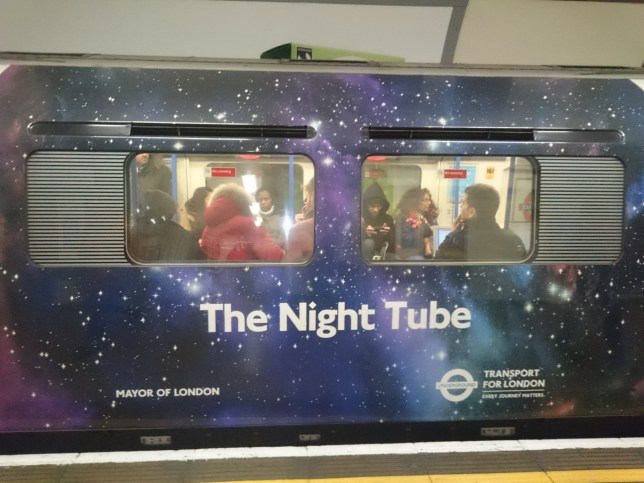 London, United Kingdom. 15th January 2016 -- The Night tube service promoted by Transport for London. -- London prepares for tube strikes that are set for January 26 as well as February 15 and 17, while Transport for London promotes night service, decorating some of the Piccadilly line trains in a blue colour.