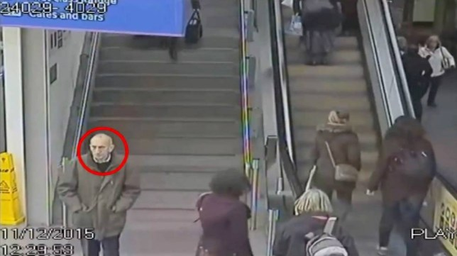 CCTV footage dated 11/12/15 of a mystery man at Manchester Piccadilly station, and who was later found dead at a remote moorland beauty spot. The white male aged between, 65 and 75, was found fully clothed by a cyclist on December 12 near a hill known as the Indian's Head, an outcrop near the top of Dovestones Reservoir near Oldham.