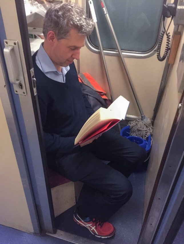 A CUNNING rush-hour rail commuter has found the ideal bolt-hole when he cannot get a seat ¿ he sits with the MOPS and BUCKET...The resourceful City of London worker has been trekking up and down to London from Ipswich, Suffolk, five days a week for more than 17 years...The financial high-flyer, who doesn¿t want to be named, forks out over £6000-a-year for a season ticket...Now he always heads for the staff compartment and makes himself comfortable next to the mops and bucket...Sitting pretty - the commuter squeezes in beside the mops and bucket.