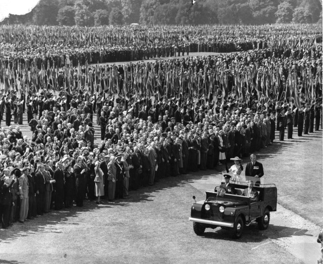 File photo dated 05/07/53 of Queen Elizabeth II riding in a Land Rover with the Duke of Edinburgh, reviewing 72,000 ex-Service men and women, including the wounded and the veterans of three wars, in Hyde Park, as one of the most-loved and long-lived road vehicles, and a favourite with the Queen, will cease production when the last Land Rover Defender will be produced by Jaguar Land Rover (JLR) at Solihull in the West Midlands on Friday. PRESS ASSOCIATION Photo. Issue date: Tuesday January 26, 2016. See PA story TRANSPORT Defender. Photo credit should read: PA Wire