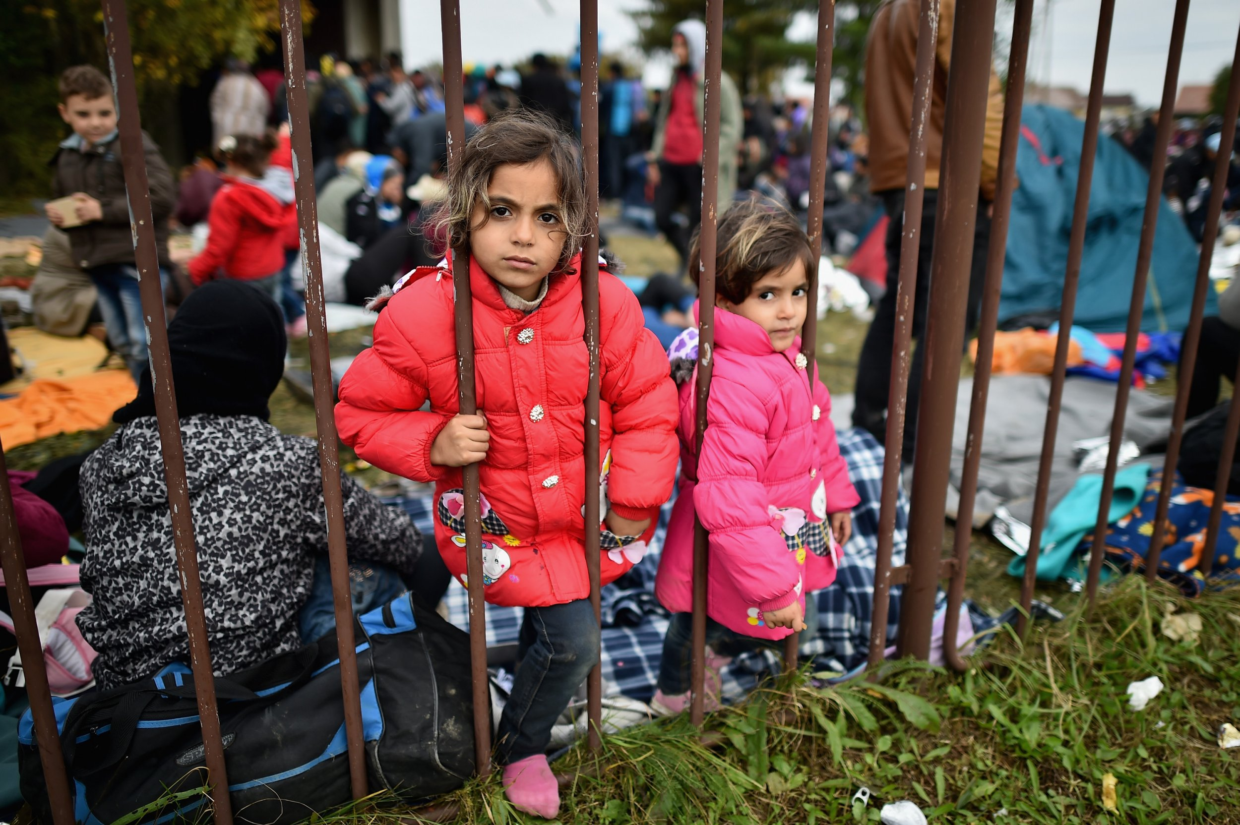 DOBOVA, SLOVENIA - OCTOBER 22: Migrant children look through a metal fence as they rest at a temporary holding area after being escorted by police from the Croatian and Slovenia border October 22, 2015 in Dobova, Slovenia. Thousands of migrants marched across the border from Croatia into Slovenia as authorities intensify their efforts to attempt to cope with a human tide unseen in Europe since World War II. (Photo by Jeff J Mitchell/Getty Images)