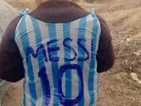 People want to find this boy and give him a real Lionel Messi shirt