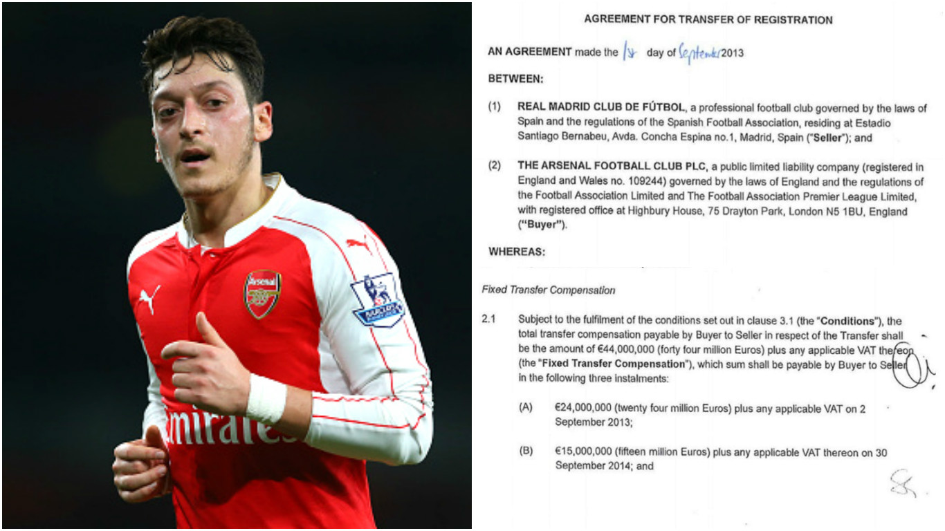 Mesut Ozil transfer documents show he'll only cost Arsenal £38m