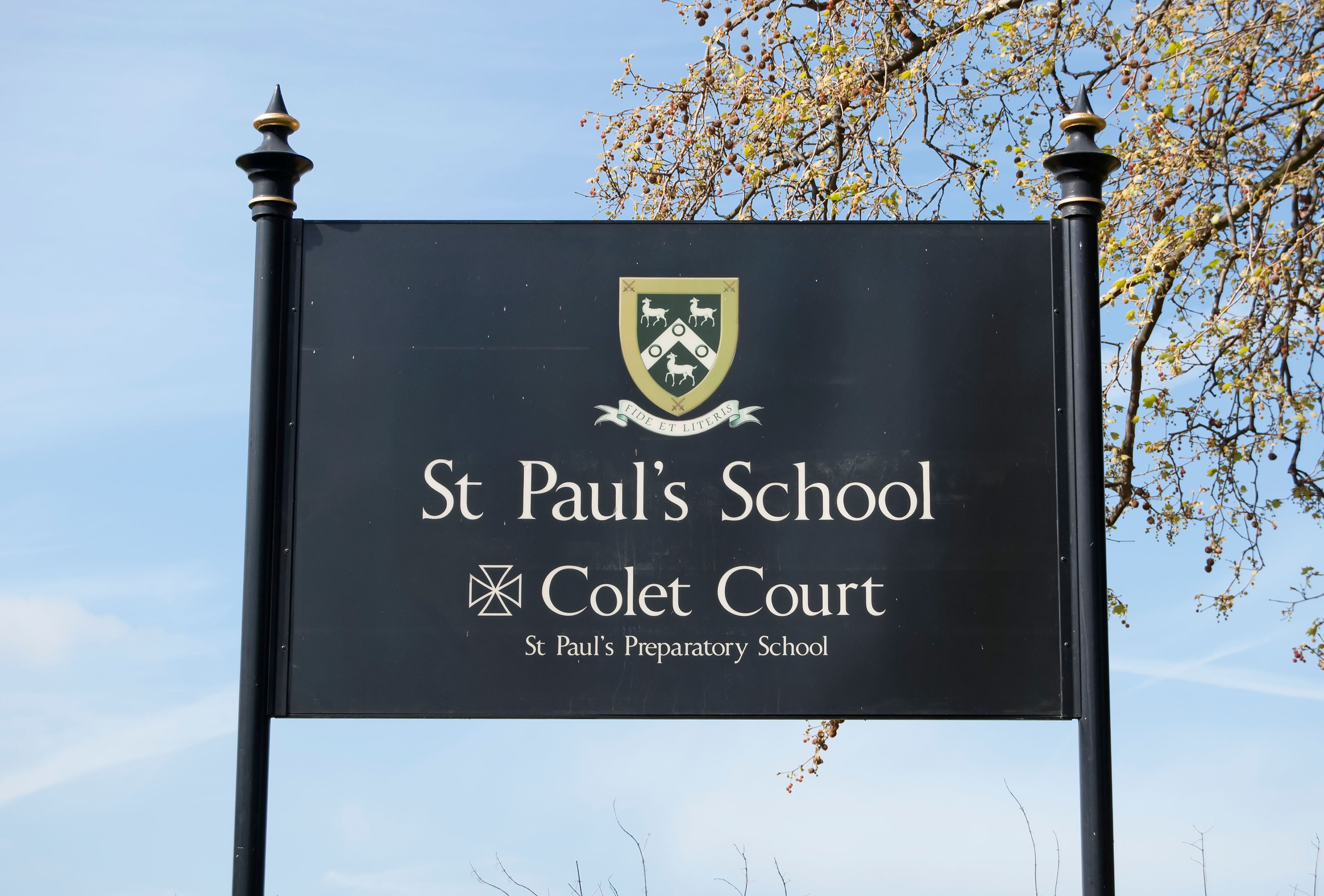 Sign for St Paul's School and Colet Court, Barnes, Southwest London, England