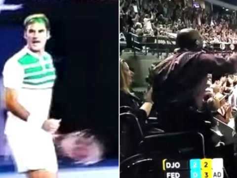 Roger Federer hits incredible shot v Novak Djokovic, man in wheelchair stands up to applaud