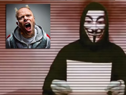 Anonymous issue warning to The Prodigy's Keith Flint because of his 'fetish for murdering animals'