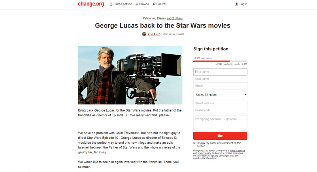 Someone has started a petition for George Lucas to direct Star Wars IX