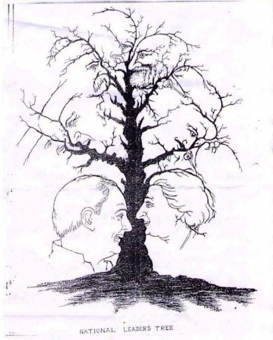 national leaders tree - optical illusion