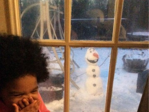 Little girl's adorable reaction to finding a real Olaf snowman in her garden
