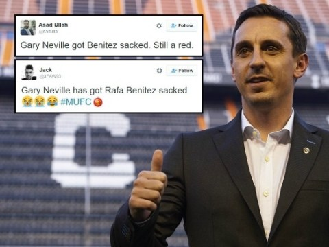 Manchester United fans hail Gary Neville for getting Liverpool hero Rafael Benitez sacked as Real Madrid manager