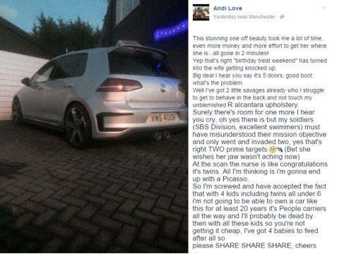 Man's hilarious eBay rant about having to sell beloved VW Golf because wife is pregnant with twins