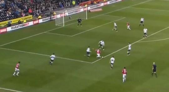 Wayne Rooney scored a belter versus Derby (Picture: Twitter)