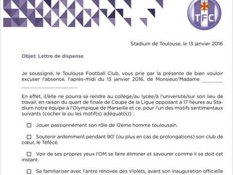 Toulouse provide fans with letters excusing them from work for Marseille match