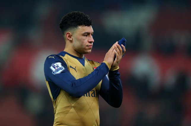 STOKE-ON-TRENT, ENGLAND - JANUARY 17: Alex Oxlade-Chamberlain of Arsenal during the Barclays Premier League match between Stoke City and Arsenal at the Britannia Stadium on January 17, 2016 in Stoke-on-Trent, England. (Photo by Catherine Ivill - AMA/Getty Images)