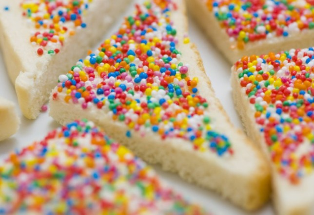 fairy bread white bread covered in sprinkles