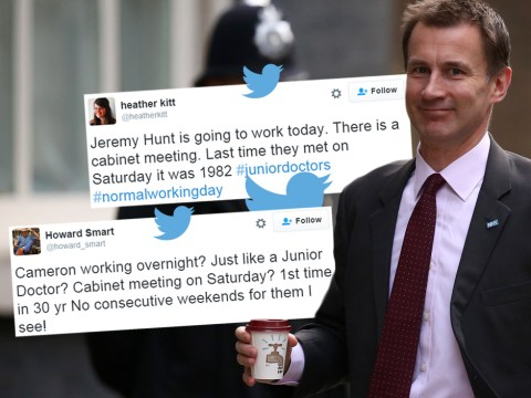 Junior doctors offer Jeremy Hunt their sympathy for having to work on a Saturday