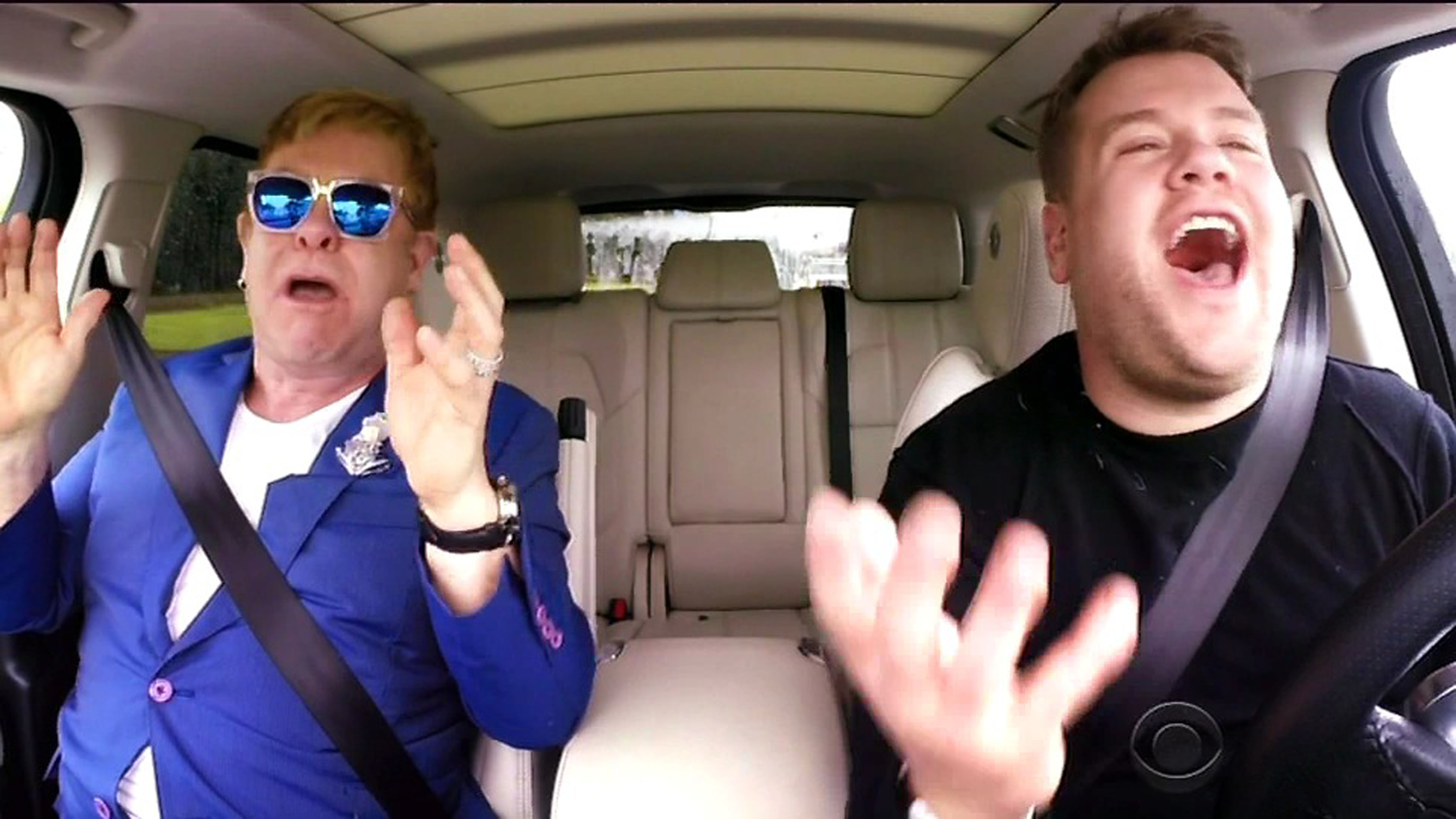 5 February 2016 - Los Angeles - USA **** STRICTLY NOT AVAILABLE FOR USA *** Elton John does Carpool Karaoke on The Late Late Show. Host James Corden gave a 30 second sneak peak at Sir Elton joining him on the road for the popular segment. Dressed in a blue jacket and matching sunglasses, Elton and Corden belted out his hit Don't Let The Sun Go Down On Me. Corden gave viewers a quick preview of the highly anticipated Carpool Karaoke segment, revealing the full clip would be shown on a special edition of The Late Late Show that would air after the Superbowl this coming Sunday. XPOSURE PHOTOS DOES NOT CLAIM ANY COPYRIGHT OR LICENSE IN THE ATTACHED MATERIAL. ANY DOWNLOADING FEES CHARGED BY XPOSURE ARE FOR XPOSURE'S SERVICES ONLY, AND DO NOT, NOR ARE THEY INTENDED TO, CONVEY TO THE USER ANY COPYRIGHT OR LICENSE IN THE MATERIAL. BY PUBLISHING THIS MATERIAL , THE USER EXPRESSLY AGREES TO INDEMNIFY AND TO HOLD XPOSURE HARMLESS FROM ANY CLAIMS, DEMANDS, OR CAUSES OF ACTION ARISING OUT OF OR CONNECTED IN ANY WAY WITH USER'S PUBLICATION OF THE MATERIAL. BYLINE MUST READ : CBS/XPOSUREPHOTOS.COM PLEASE CREDIT AS PER BYLINE *UK CLIENTS MUST CALL PRIOR TO TV OR ONLINE USAGE PLEASE TELEPHONE 44 208 344 2007