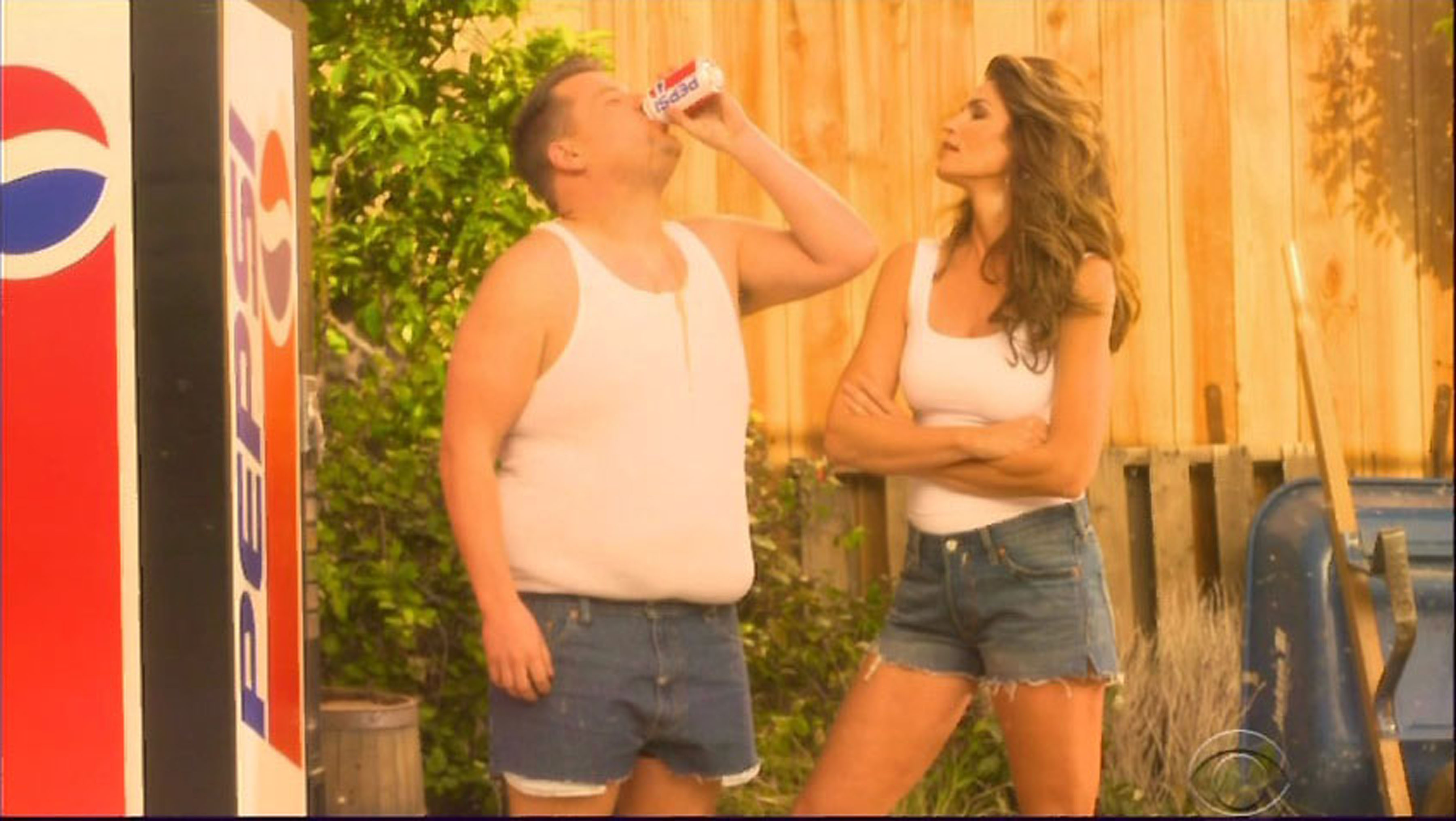 Just James Corden recreating Cindy Crawford's infamous Super Bowl Pepsi ad