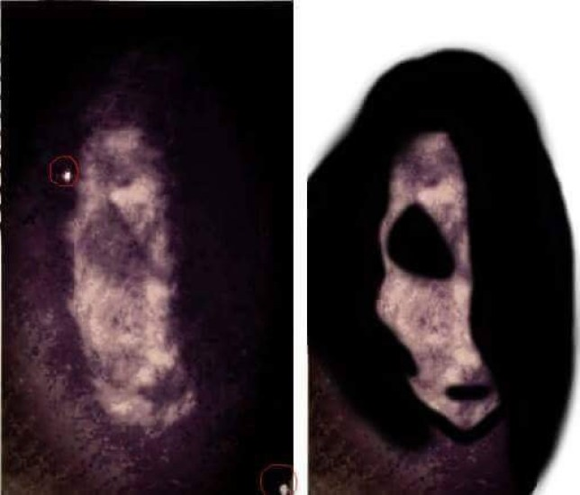 ** ONLINE EMBARGO UNTIL 00:01 1ST FEBRUARY 2016** PIC BY CATERS NEWS - (PICTURED: A closer look at the satanic ram.) - Britains most haunted house is up for sale after its female owner has been traumatised by the ghost of a SATANIC GOAT. Vanessa Mitchell, 43, from St Osyth, Essex, was unaware that the cottage, known as the Cage, was haunted when she moved there in 2004. Since then she claims to have seen numerous ghostly figures, been pushed over while heavily pregnant, smacked on the bottom and even seen blood splatters appear on the floor.The property, which was formally a medieval prison,hosted one of Englands most famous witch hunts where eight women died after being accused in the 16th Century.Vanessa has kept the her cursed cottage for 11 years- making her the second longest owner,with previous buyers selling the property in under four years. SEE CATERS COPY.