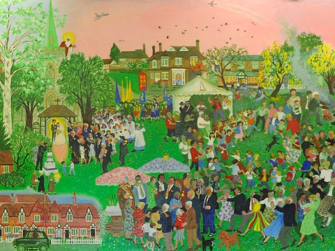 Sir Terry Wogan's village painted this beautiful mural – can you find him in it?
