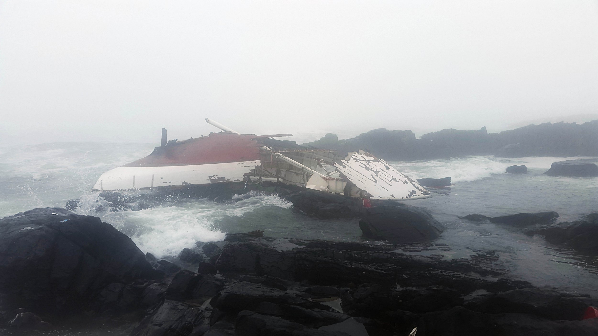 BEST QUALITY AVAILABLE Undated handout photo issued by the National Sea Rescue Institute South Africa of a Yacht which ran into trouble and was found crashed into rocks on the western coast of South Africa, as a Scottish man and an Irish woman have died. PRESS ASSOCIATION Photo. Issue date: Tuesday February 2, 2016. The NSRI received reports that a yacht had capsized between Bokpunt and Gansekraal on the Western Cape just after 4.30am on Monday. See PA story DEATH Yacht. Photo credit should read: NSRI/PA Wire NOTE TO EDITORS: This handout photo may only be used in for editorial reporting purposes for the contemporaneous illustration of events, things or the people in the image or facts mentioned in the caption. Reuse of the picture may require further permission from the copyright holder.