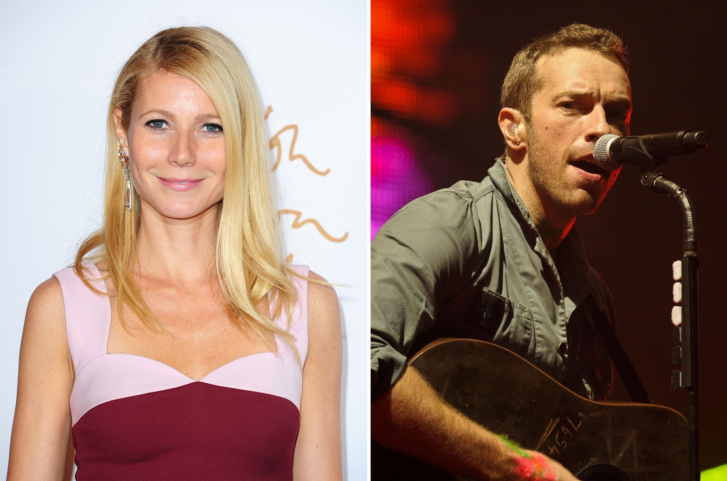 "Undated file photos of Gwyneth Paltrow and Chris Martin. The Hollywood actress described Coldplay frontman ex-husband as ""like my brother"" as she revealed their amicable family arrangement that regularly sees them sleeping over at each other's house. PRESS ASSOCIATION Photo. Issue date: Tuesday February 2, 2016. The two ""consciously uncoupled"" in March 2014 but are often pictured together with their two children Apple, 11, and Moses, 9. See PA story SHOWBIZ Paltrow. Photo credit should read: PA/PA Wire"
