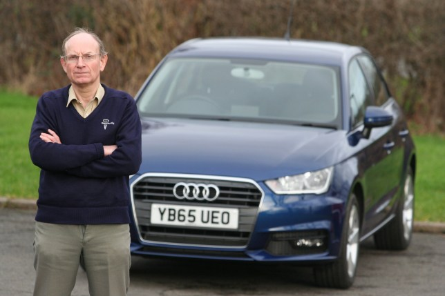 """Doctor Geoffrey Evans from Barnsley, South Yorkshire, who forked out almost £20k for a brand new Audi can only take it for a spin once a week for 40 minutes at a time - because he is ALLERGIC to it. See Ross Parry copy RPYCAR : Dr Geoffrey Evans, 64, gets a """"stinging, burning sensation"""" across his entire body every time he takes his #18,000 Audi A1 for a drive. Dr Evans, who has a PHD in combustion chemistry, says it is the Formaldehyde found in the car's upholstery and plastics which is the catalyst - despite being initially told by an Audi salesman that their cars did not contain the chemical. Speaking about the huge problem and risk to his health, he said: """"Obviously, it is a nightmare. It's not the best thing to come of buying a new car because I can't use it that much."""