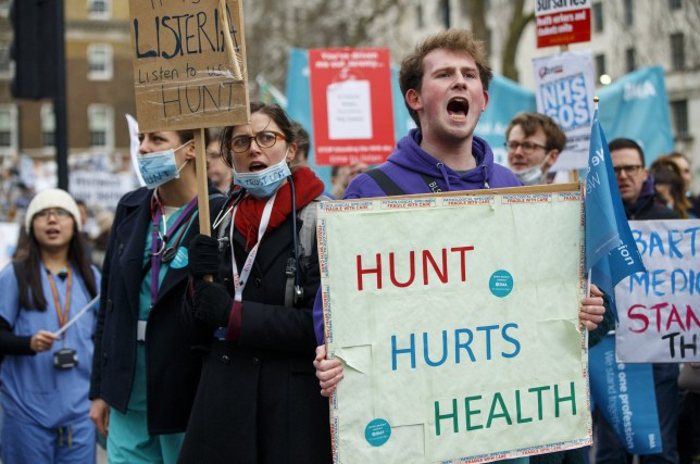 Mandatory Credit: Photo by Tolga Akmen/LNP/REX/Shutterstock (5583166d) Junior doctors and NHS staff staging a masked protest outside Downing Street in London ahead of a 24-hour walkout due to begin on Wednesday Junior Doctors Protest, London, Britain - 06 Feb 2016