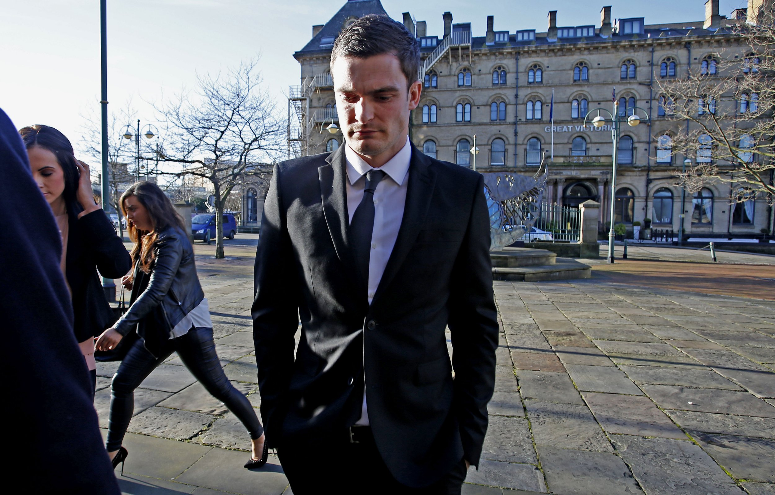 England footballer Adam Johnson, 28, arrives at Bradford Crown Court, Bradford, where he is due to go on trial accused of child sex charges. PRESS ASSOCIATION Photo. Picture date: Wednesday February 10, 2016. The 28-year-old Sunderland winger is set to appear following allegations of sexual activity with a girl under 16. See PA story COURTS Johnson. Photo credit should read: Peter Byrne/PA Wire