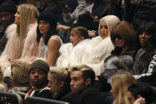"Lamar Odom, Khloe Kardashian, Kylie Jenner, North West, Kim Kardshian and Vogue Editor Anna Wintour attend Kanye West's Yeezy Season 3 Collection presentation and listening party for the ""The Life of Pablo"" album during New York Fashion Week February 11, 2016. REUTERS/Andrew Kelly"