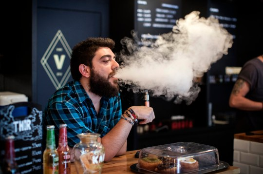 Vaping causes short term damage to nose so only exhale through mouth