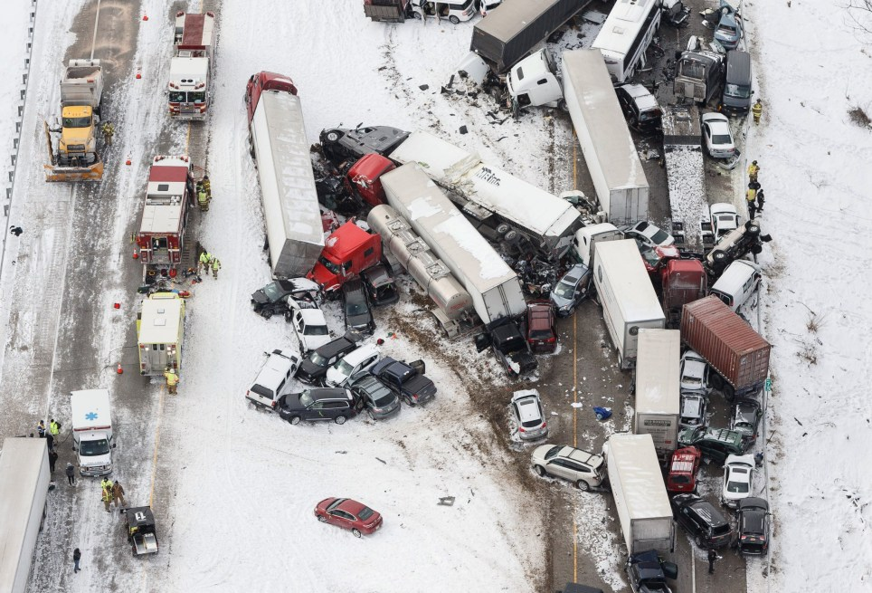 Pennsylvania 50-car crash during 'total whiteout' snowstorm leaves 3