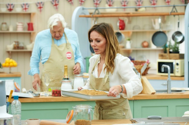 WARNING: Embargoed for publication until 00:00:01 on 09/02/2016 - Programme Name: The Great Sport Relief Bake Off 2016 - TX: n/a - Episode: n/a (No. 3) - Picture Shows: **EMBARGOED FOR PUBLICATION UNTIL 00:00 HRS ON TUESDAY 9TH FEBRUARY 2016** John Simpson, Geri Horner - (C) Love Productions - Photographer: Ian Tuttle