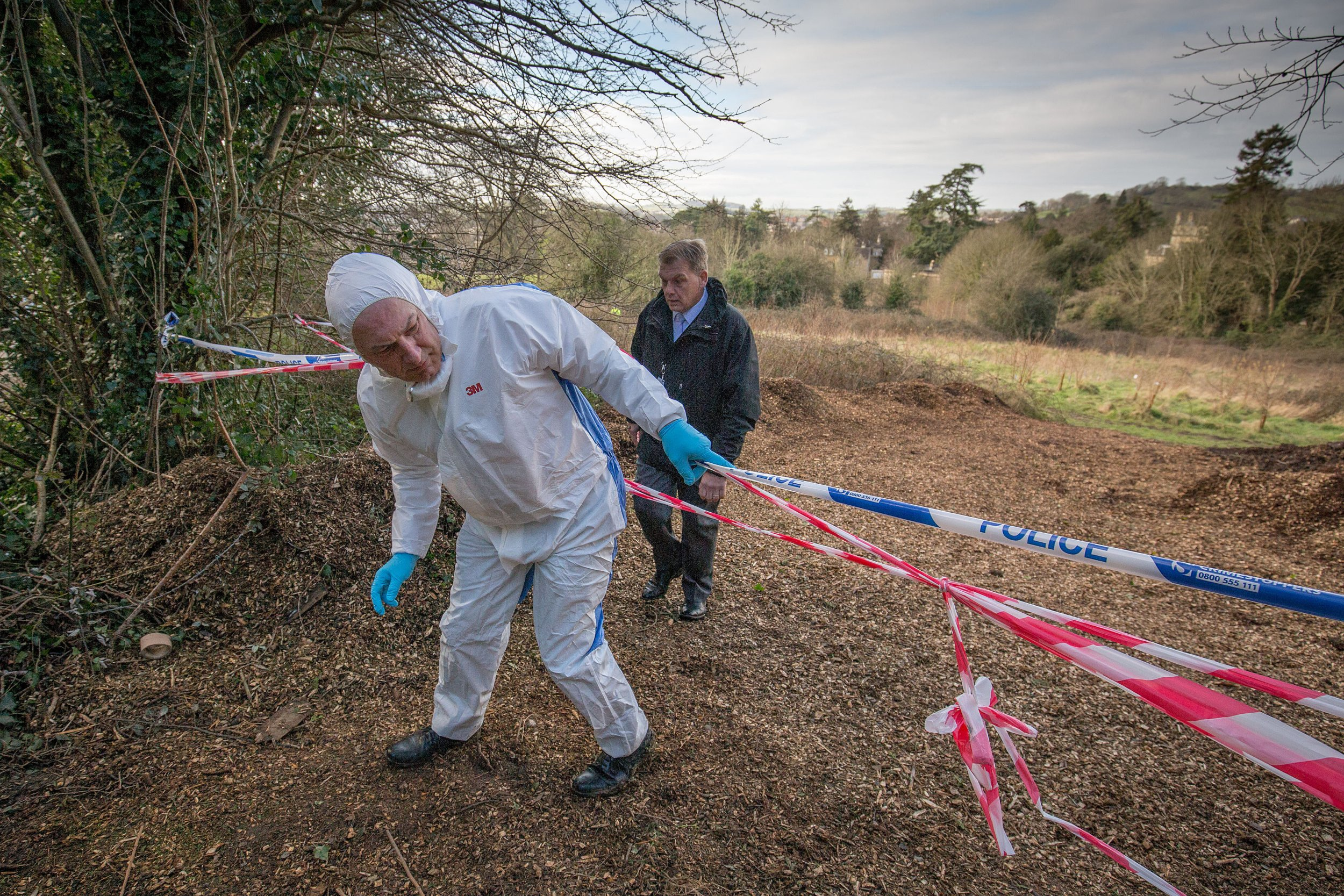 Police on the scene at Weston Park East in Bath, where a severed human foot was found this morning. February 19 2016.    See SWNS story SWFOOT: Police are investigating the mysterious discovery of a severed human FOOT in a city park yesterday (Fri). The gruesome find was made by a dog walker at Weston Park East in Bath, Somerset, around a mile from the city centre. It appeared to be a right foot and had been severed a couple of inches above the ankle. Dog walker Simon Clarke made the discovery while walking his dog Ollie with his partner Nicky Jeffries at around 8am on Friday morning.