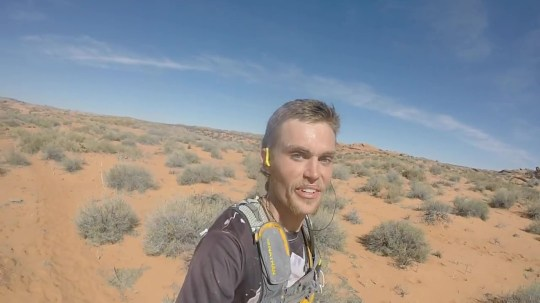 Guy who's never run a marathon before runs 50k through a canyon. Talks the entire time running, wears jorts, eats a buffet, and downs a beer at the halfway break Credit:YouTube/Jesse Weber