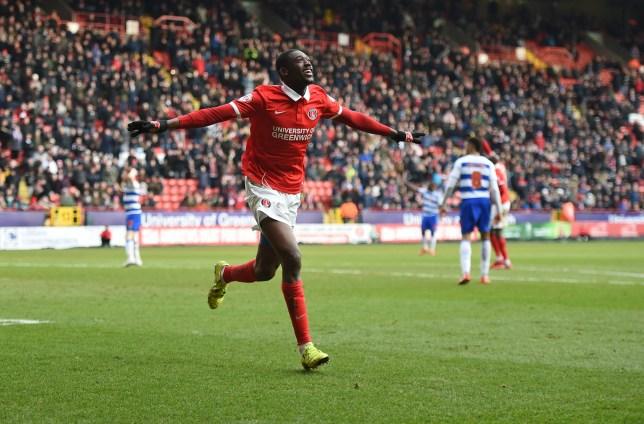Charlton Athletic's Yaya Sanogo celebrates his second goal