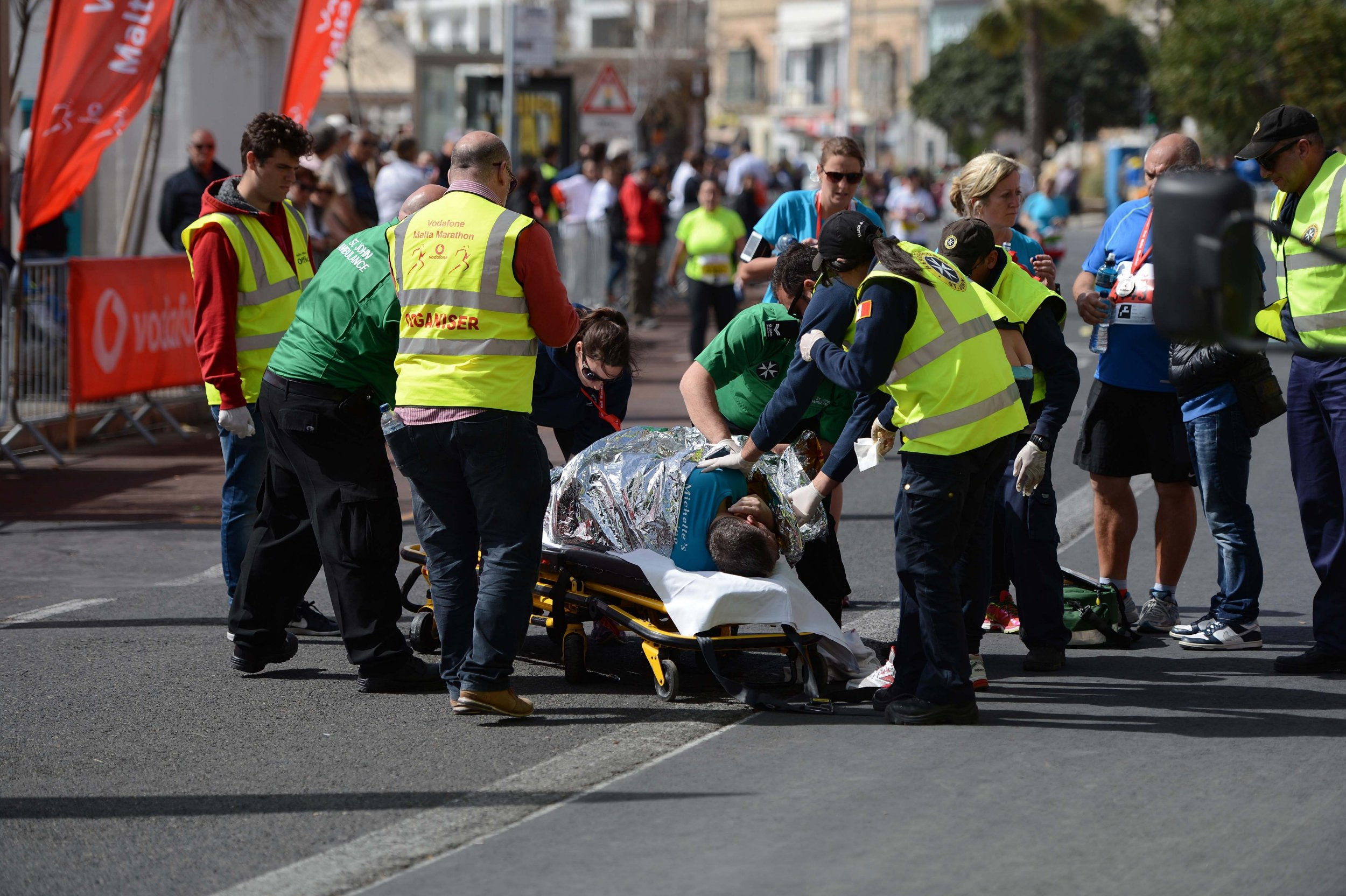 Picture Shows: GV  February 28, 2016    A 55 year old British male collapsed and died 50 meters from the finish line of the Malta marathon today.    Exclusive - All Round  UK and US Rights Only  Pictures by : FameFlynet UK © 2016  Tel : +44 (0)20 3551 5049  Email : info@fameflynet.uk.com