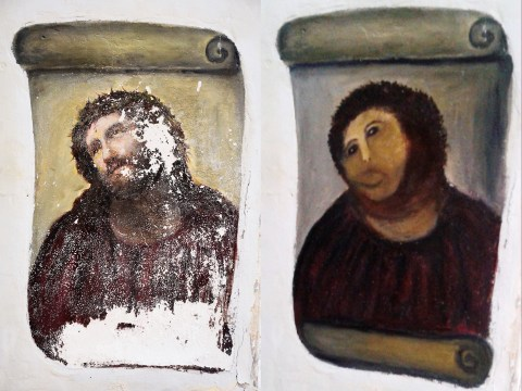 Looks like that terrible 'Ecco Homo' Jesus restoration has made the woman a local hero
