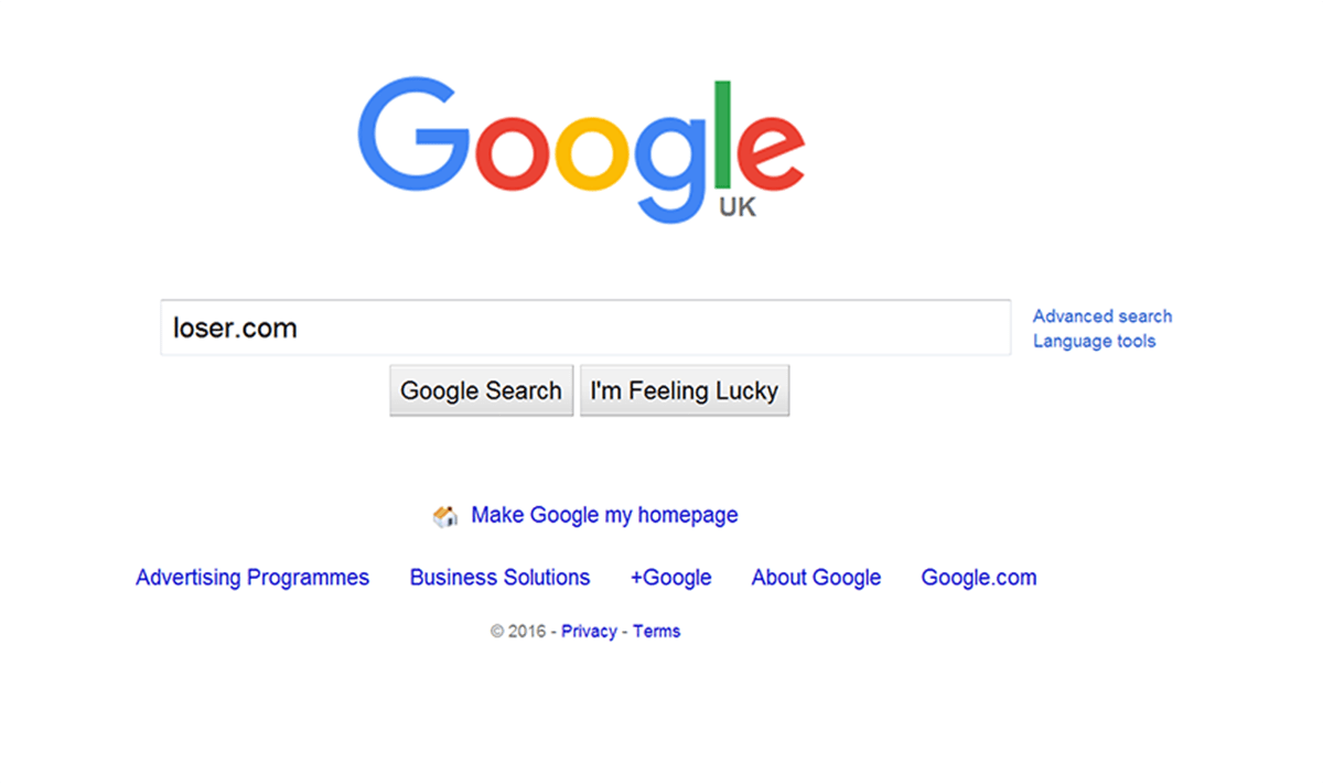 This is what happens when you type loser.com into your address bar (Picture: Google)