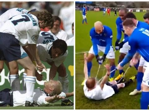 Wealdstone Raider returns and copies Paul Gascoigne's goal celebration