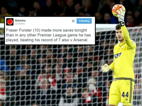 Fraser Forster made most saves of his Premier League career against Arsenal