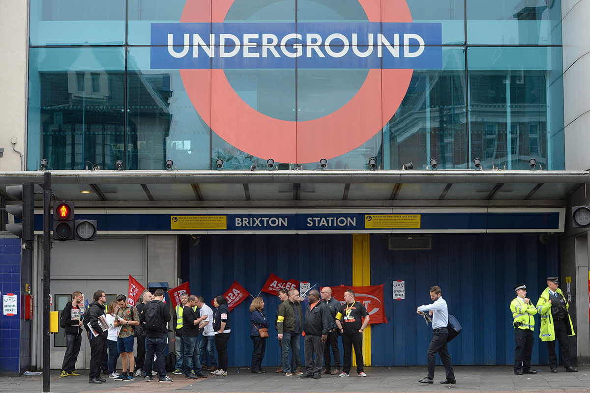 File photo dated 06/08/15 of RMT members holding a picket outside Brixton Underground station, London, as London Underground workers are to stage fresh strikes in the escalating dispute over all-night Tubes, threatening more travel chaos in the capital.