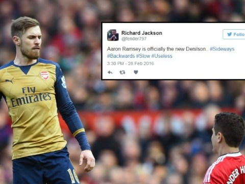 Arsenal fans compare Aaron Ramsey to Denilson after Manchester United loss